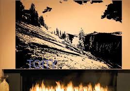 snowboard collines montagne mur autocollant paysage d hiver vinyle