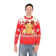3d sweater with stuffed moose