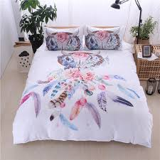 Linen Bedding Sets 2018 New Bohemian Feather Printed Duvet Cover Set 2 3pcs