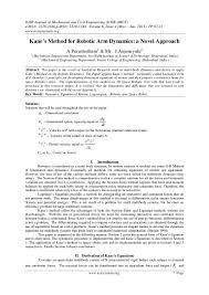 kane u0027s method for robotic arm dynamics a novel approach