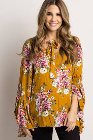 blouse with tie neck yellow floral tie neck maternity blouse