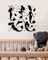 wall decals art decor walmart com roommates all because two people shop black and gold bathroom wanelo wall decal mermaid dolphin marine sea girl room viny