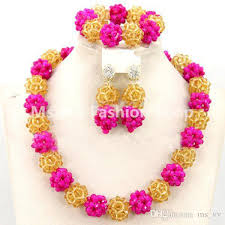 orange beads necklace images 2018 new design glamorous orange pink colorful wedding african jpg