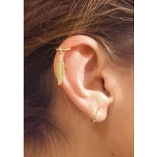 gold cartilage hoop piercing ear polyvore