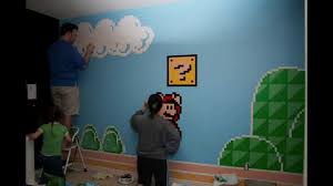 super mario room mural youtube