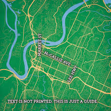 Map Of Chattanooga Tennessee by Chattanooga Tennessee Map Art City Prints