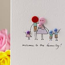 personalised button family handmade card by shelbourne