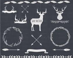 deer clip 18 gold foil stag deer antlers clipart digital
