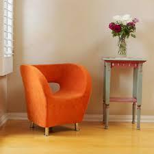 Barrel Accent Chair Modern Tub Barrel Design Orange Microfiber Accent Chair Ebay
