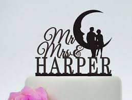 acrylic wedding cake toppers mr mrs couples on the moon custom