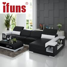 Stylish Sofa Sets For Living Room Ifuns Brillancy Orange Genuine Leather Corner Sofas Modern Design