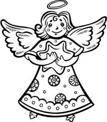 christmas angel holding star coloring free printable