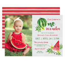 watermelon 1st birthday invitations u0026 announcements zazzle
