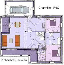 plan de maison avec cuisine ouverte maison avec étage avec grand salon séjour bureau 3 chambres