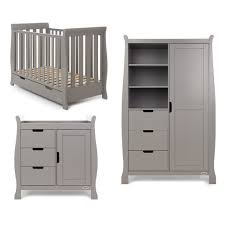 obaby solid wood 3 piece stamford sleigh mini cot bed set taupe