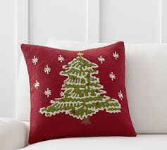 embroidered christmas christmas tree crewel embroidered pillow cover pottery barn