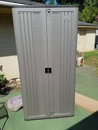suncast mega tall storage cabinet suncast 40 in x 80 25 in 3 shelf resin mega tall storage cabinet