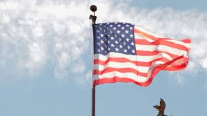 United States American Flag Us American Flag Blowing In Wind Sunny Blue Sky Stock Video