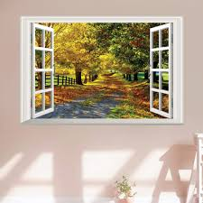 compare prices on bedroom flooring pictures online shopping buy home decor 3d landscape window wall sticker removable wall art decal bedroom wall picture china