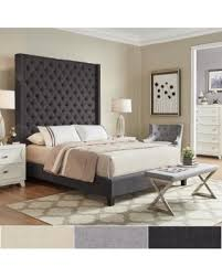 High Headboard Bed Shopping S Deal On Naples Wingback Button Tufted 84