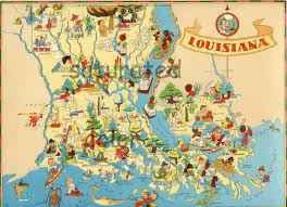 Map Of New Orleans Area by Louisiana Map Original Vintage 1930s Antique Picture Map