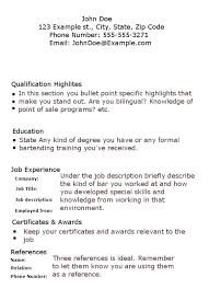 bartender resume templates bartender resume template sle exles of resumes no experience