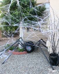 Home Made Halloween Decoration Diy Halloween Decorations Spooky Spider Web And A Giant Spider