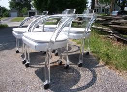 Lucite Armchair Lucite Side Chair Modern Louis Purple Mohair Seat Cushion