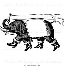 Vintage Flag Art Circus Clipart Of A Vintage Black And White Circus Elephant