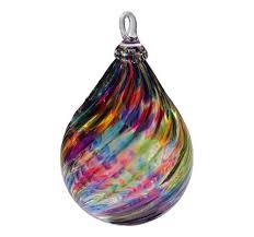 glass eye studio blown glass ornament rainbow raindrop