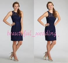 short navy blue bridesmaid dress halter high neck cutout back lace