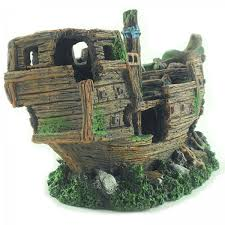 sunken boat shipwreck aquarium fish tank ornament