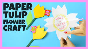 paper tulip flower craft for kids youtube