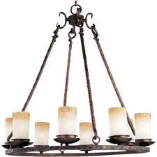 Rustic Candle Chandelier Rustic Chandeliers Hanging Lights The Home Depot