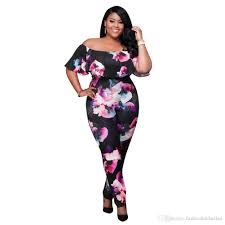 one jumpsuit plus size fashion plus size floral printing sleeve bodycon fitness