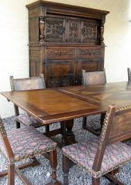 french gothic revival dining room set table chairs court cupboard