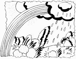 april showers coloring book page rainbow umbrella may flowers