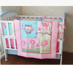 Owls Crib Bedding Pink Birdie Owl Flowers 7pcs Baby Crib Bedding Set Applique