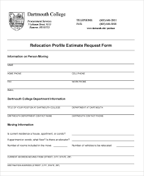 Relocation Estimate by Sle Estimate Request Form 9 Exles In Word Pdf