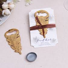 souvenir for wedding 50pcs free shipping gilded gold feather bottle opener souvenir