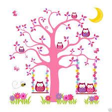 cartoon pink purple owl tree mural wall decals baby woodland