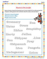 nouns in the jungle english worksheet on nouns jumpstart