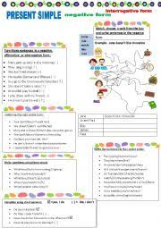english teaching worksheets negative present simple