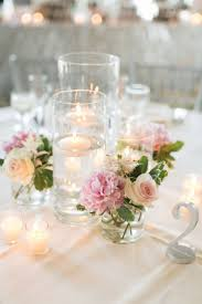 Floating Candle Centerpieces by Les Fleurs Floating Candle Centerpieces Blush Pink Silver