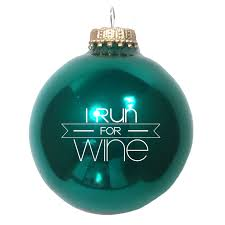 i run for wine christmas ornament in various colors baysix