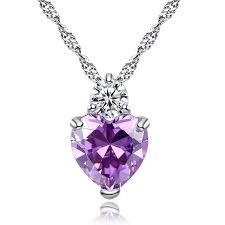 online get cheap amethyst butterfly amazon com godyce heart amethyst pendant necklace women