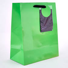 neon green large gift bag with black tissue paper card factory