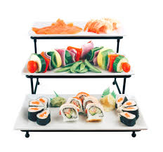 unique serving platters food serving tray set 3 tier metal display stand with 3 white