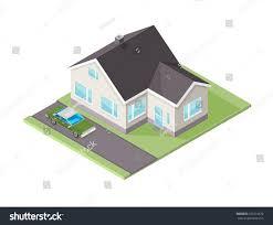 modern family garden vector illustration modern family home car isometric stock vector
