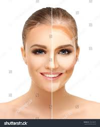 contouringmake woman face contour highlight makeup stock photo